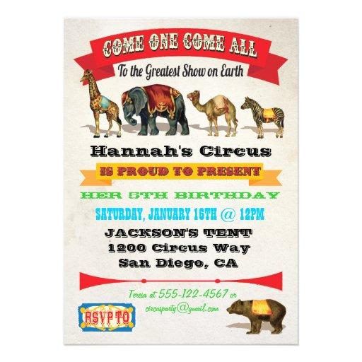 Vintage Circus Animals Birthday Party Invitations