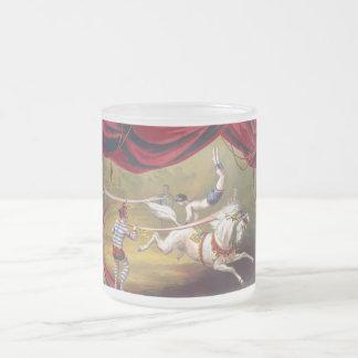 Vintage Circus Art Frosted Glass Mug