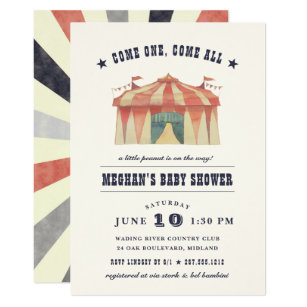 Vintage Circus Baby Shower Invitation