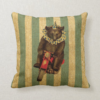 Vintage Circus Bear on Motorcycle Throw Pillow