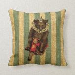Vintage Circus Bear on Motorcycle Throw Pillows