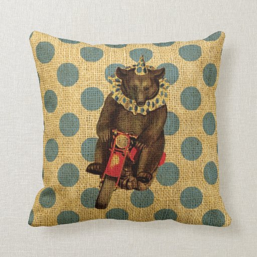 Vintage Circus Bear on Motorcycle with Polka Dots Pillow