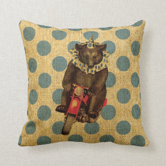 Vintage Circus Bear on Motorcycle with Polka Dots Throw Pillow