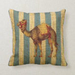 Vintage Circus Camel on Blue Stripes Pillows
