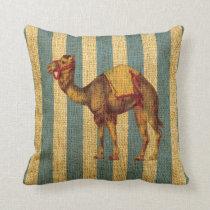 Vintage Circus Camel on Blue Stripes Throw Pillow