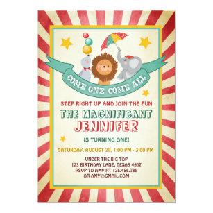 Vintage Circus Carnival Birthday Invitation