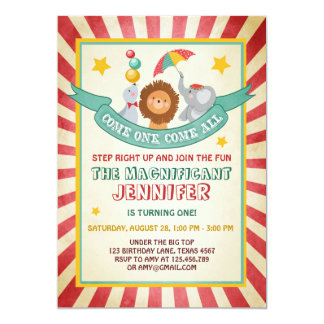 Vintage Circus carnival birthday invitation