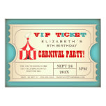 Vintage Circus Carnival Birthday Party Ticket 5x7 Paper Invitation Card