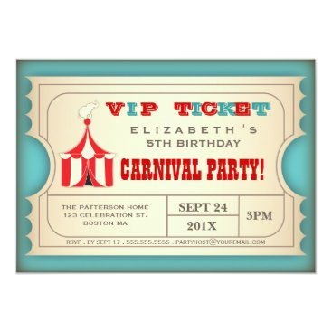 birthday Vintage Circus Carnival Birthday Party Ticket Card