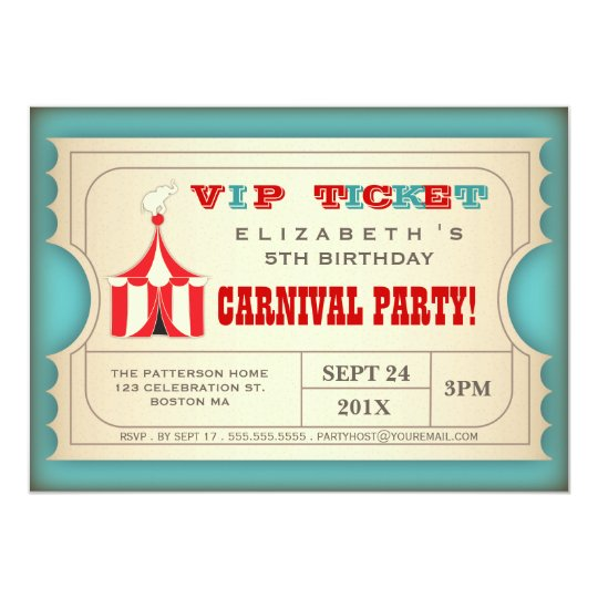 Vintage Circus Carnival Birthday Party Ticket Card – Carnival Ticket Birthday Invitations