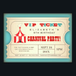 "Vintage Circus Carnival Birthday Party Ticket Invitation<br><div class=""desc"">A good old fashioned circus carnival with vintage styling, this fun design in the form of a VIP Admission ticket, features a cute elephant atop the big top circus tent, in a trendy red and turquoise color scheme and contains all the event info in an easy to customize format. A...</div>"