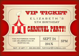 Vintage Circus Carnival Birthday Party Ticket Invitation