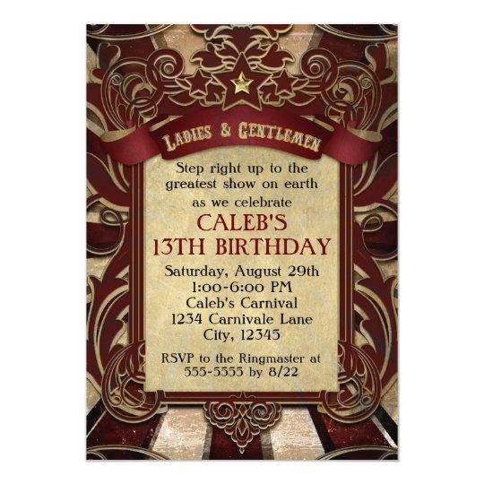 Vintage Circus Carnival Elegant Wedding Invitation