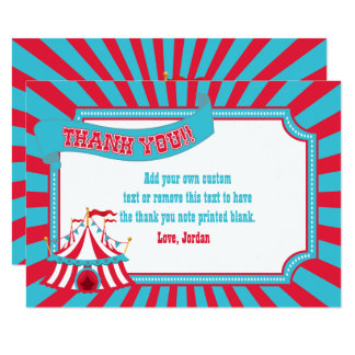 Vintage Circus, Carnival Tent Thank You Cards