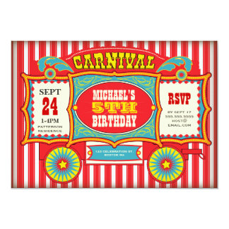Vintage Circus Carnival Wagon Birthday Party Card