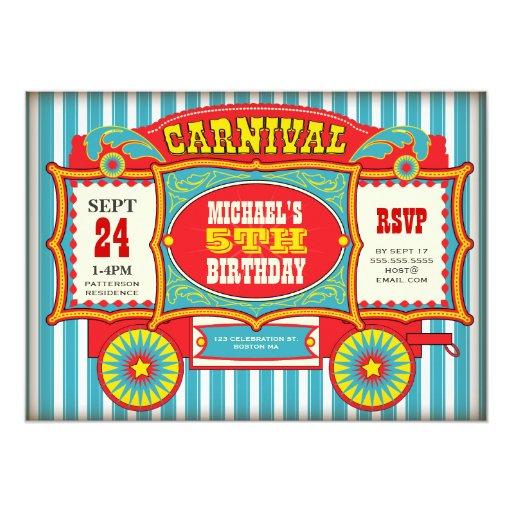 Vintage Circus Carnival Wagon Birthday Party Card