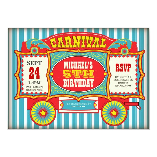 carnival invitations  announcements  zazzle, Birthday invitations