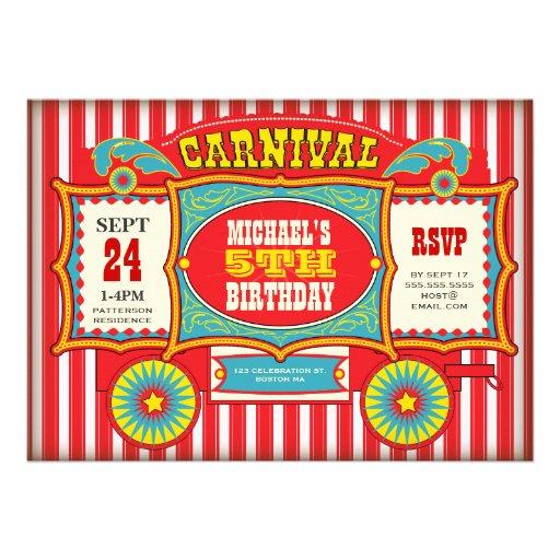 Vintage Circus Carnival Wagon Birthday Party Invites