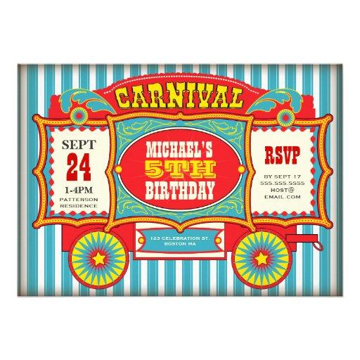 Vintage Circus Carnival Wagon Birthday Party Custom Invite