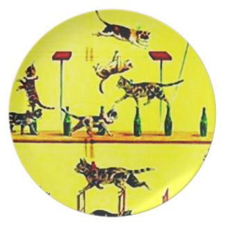 Vintage Circus Cat Cats Act Poster Wall Art Yellow Plate