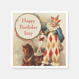 Vintage Circus Clown Personalized Birthday Napkin