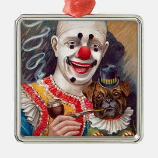 Vintage Circus Clown with his Circus Pug Dog Metal Ornament