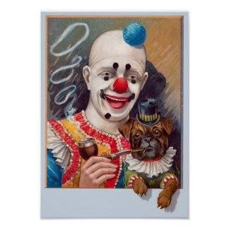 Vintage Circus Clown with his Circus Pug Dog Poste Poster