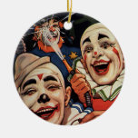 Vintage Circus Clowns, Silly Funny Humorous Christmas Ornament