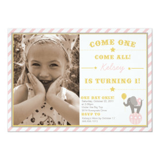 Vintage Circus Elephant - 1st Birthday 5x7 Paper Invitation Card