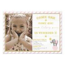 "Vintage Circus Elephant - 1st Birthday 5"" X 7"" Invitation Card"