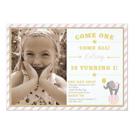Vintage Circus Elephant - 1st Birthday Invitation