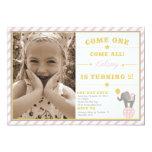 Vintage Circus Elephant - 5th Birthday Personalized Invite