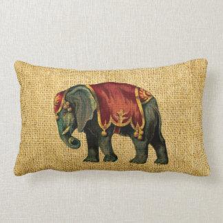 Vintage Circus Elephant and Bear Lumbar Pillow