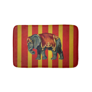vintage circus elephant bath mat