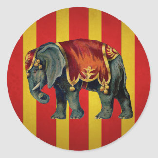 vintage circus elephant classic round sticker