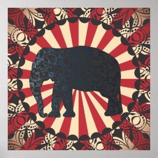 Vintage Circus Elephant Free Mandarin Circle Too Poster
