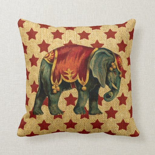 Vintage Circus Elephant on Stars Throw Pillows