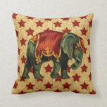 "Vintage Circus Elephant on Stars Throw Pillow<br><div class=""desc"">Vintage Circus Elephant on Rustic Red Stars with a burlap look background.</div>"