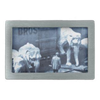 Vintage Circus Elephants Ringling Railroad Car Belt Buckles