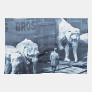 Vintage Circus Elephants Ringling Railroad Car Kitchen Towel