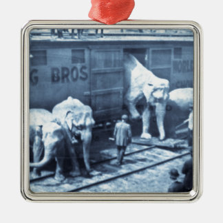 Vintage Circus Elephants Ringling Railroad Car Metal Ornament