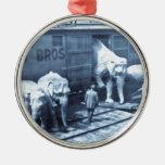 Vintage Circus Elephants Ringling Railroad Car Round Metal Christmas Ornament