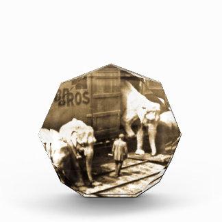 Vintage Circus Elephants Unloading from Train Car Acrylic Award