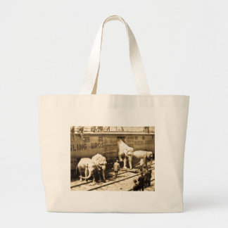 Vintage Circus Elephants Unloading from Train Car Tote Bags