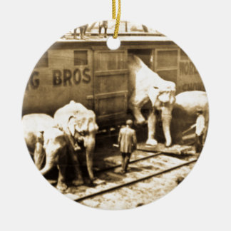 Vintage Circus Elephants Unloading from Train Car Ceramic Ornament