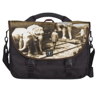 Vintage Circus Elephants Unloading from Train Car Commuter Bags