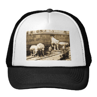 Vintage Circus Elephants Unloading from Train Car Trucker Hat