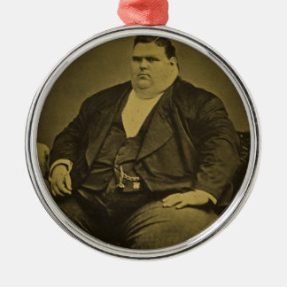 Vintage Circus Freak Sideshow Fat Man Metal Ornament