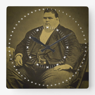 Vintage Circus Freak Sideshow Fat Man Square Wall Clock