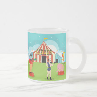 Vintage Circus Frosted Glass Mug
